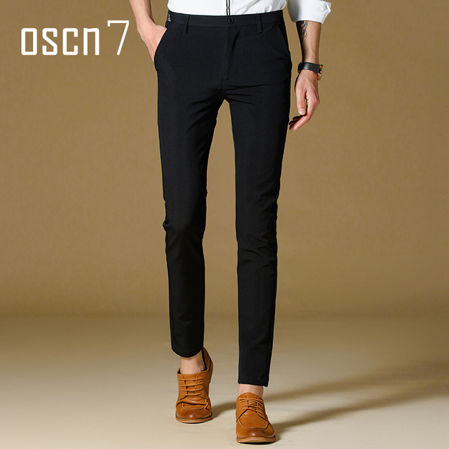 aliexpress : buy oscn7 black solid mens dress pants slim fit