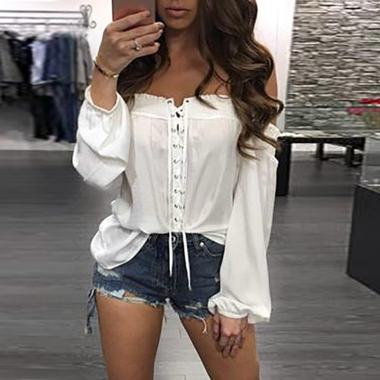 womens fashion top shirt ladies clothing top comfort women  female  Solid elegance sexy off shoulder blouse loose shirt
