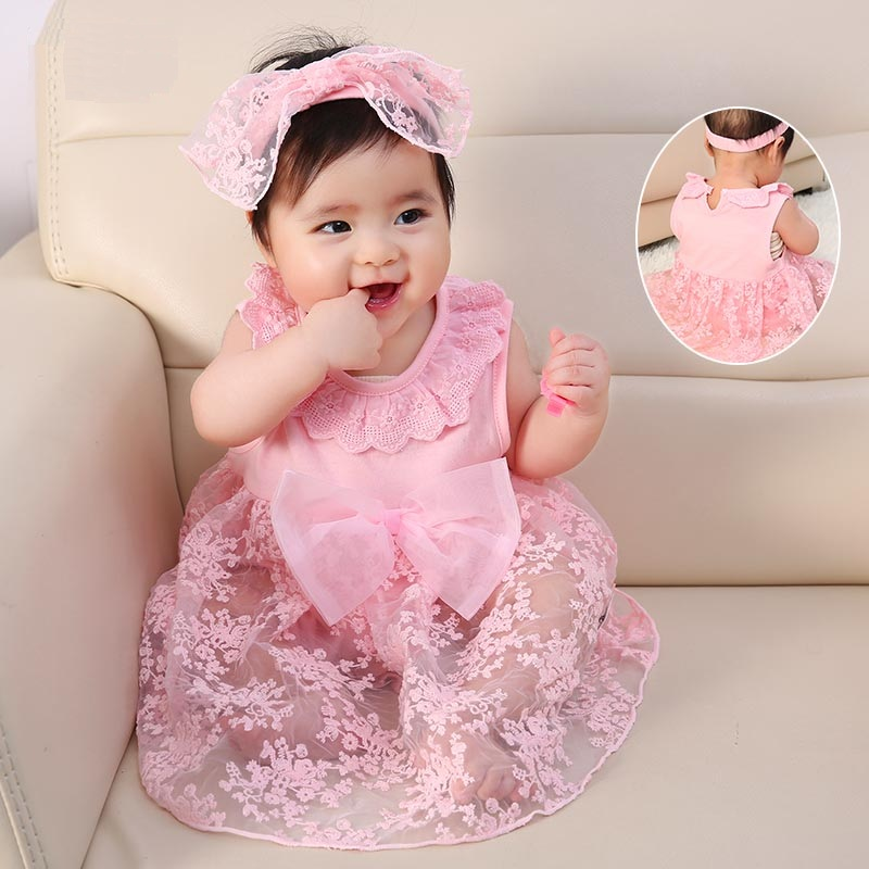 New Born Girl Dress Cotton Floral 1 Year Old Birthday Baby Princess Pink Dresses 3 6 Months