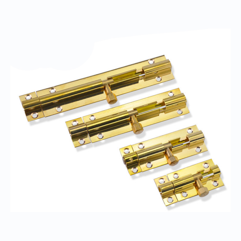 Top Selling Brass Doors Slide Latch Lock Bolt Latch Barrel Home Gate Safety Hardware Screws 4 Size 1.5/2/3/4 Inch Gold Color image