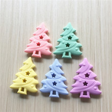Chenkai 10PCS BPA Free Silicone Christmas Tree Pacifier Teether DIY Baby Shower Nursing Chewing Jewelry Sensory Toy Candy Color