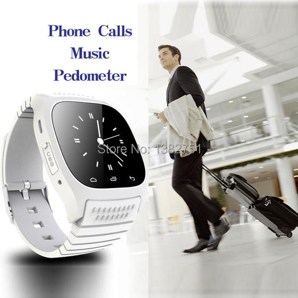 Novo bluetooth smartwatch M26 relógio à prova d ' água câmera de telefone de sincronização de dados para Android SMS remoto metros de Altitude