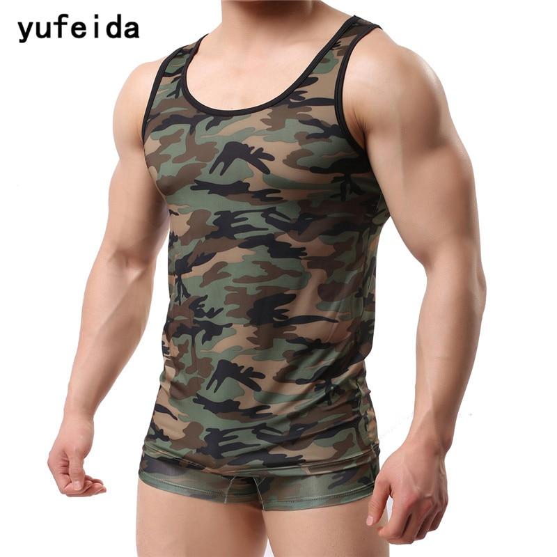 YUFEIDA Fitness Men   Tank     Top   Army Camo Camouflage Mens Bodybuilding Stringers   Tank     Tops   Singlet Clothing Sleeveless Shirt