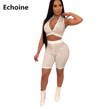 Summer Two Piece Set Sexy Slim Bodycon Sequin Crop Top and Shorts Sheath Skinny Club Outfit Sleeveless Zipper Top Pants Set sleeveless knotted top and pockets shorts set