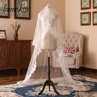 Lover Kiss One Layer Tulle Wedding Bridal Veil Lace Edge 1.5M Long Cheap White Ivory Wedding Accessories Wholesale veu de noiva