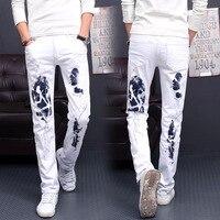 28 42 Size White Printed Men Skinny Jeans Fashion Male Unique Cotton Stretch Man S Casual