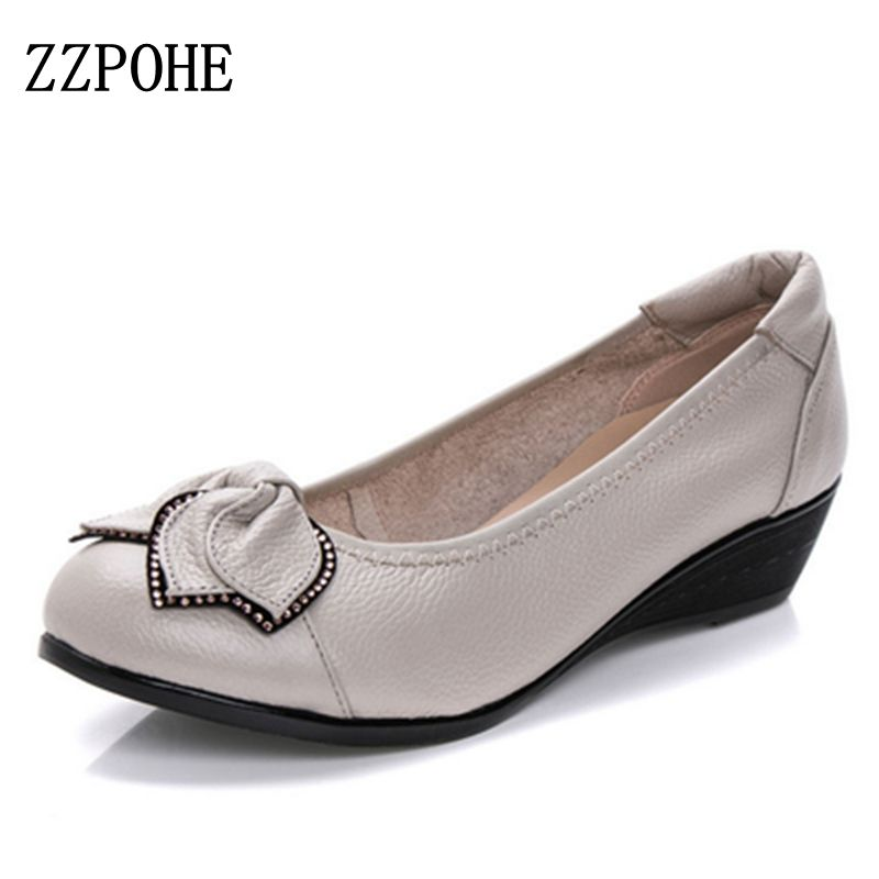 все цены на ZZPOHE Spring Autumn fashion Woman singles shoes leather soft soled Mother High Heels shoes comfortable women Plus Size shoes