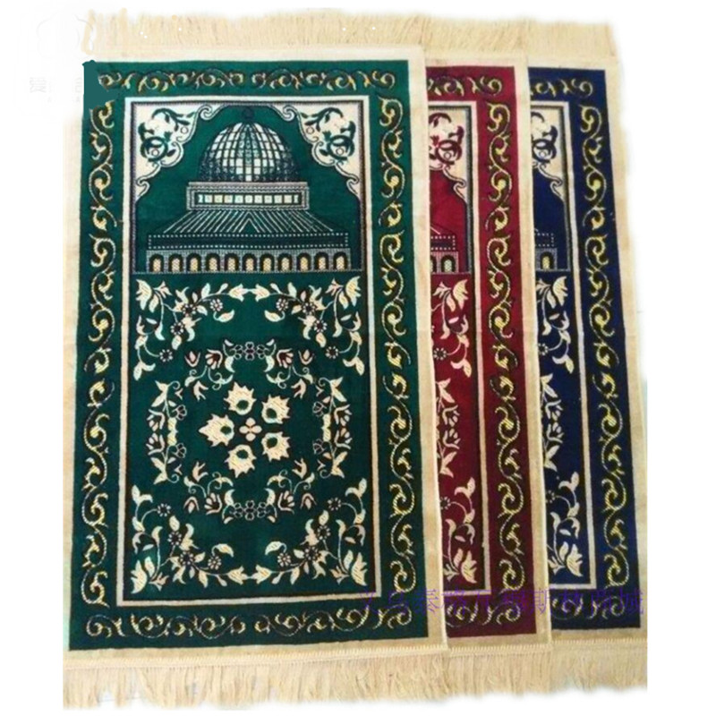 Muslim Prayer Carpet Gold Silver Thread Mats Islamic Prayer Mat Thickened Wool Spinning Carpet Carpet Door Mats Cotton Door Mat