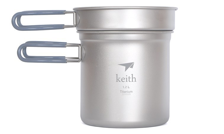 Keith Ti6013 Titanium Pot Camping Cookware Titanium Cookware 400ml+1200ml 193g nz titanium cookware 1200 ml