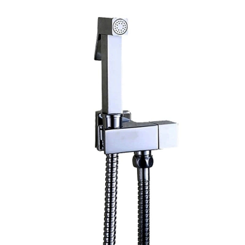Chrome Finish Solid Brass Single Cold Water orner Valve Bidet Function Square Hand Shower Head Tap Crane 90 Degree Switch