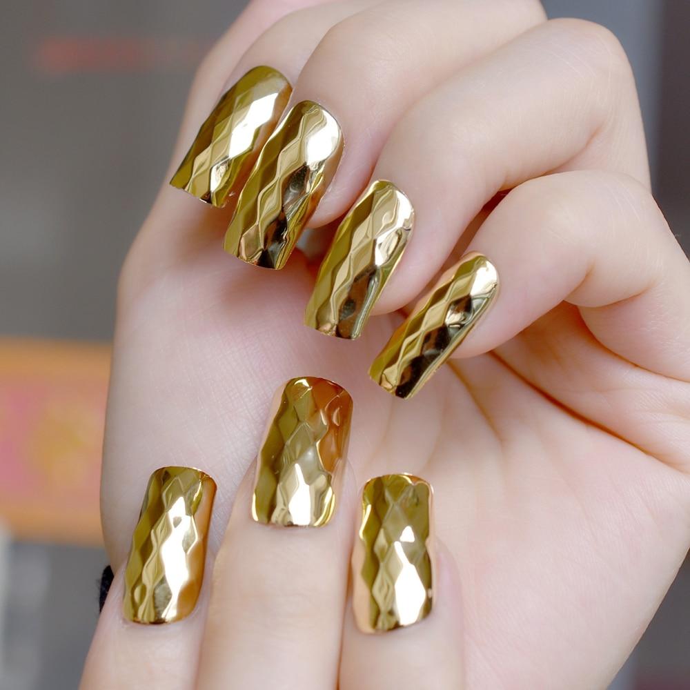 K Gold Spiegel Gefälschte Nägel Ultra Lange Platz Metallic Lady ...