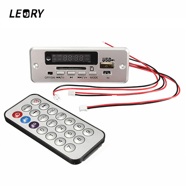 LEORY Wireless 5V Audio Player Integrated WMA Decoder Board Audio Module USB TF Radio For Car Digital LED With Remote controller