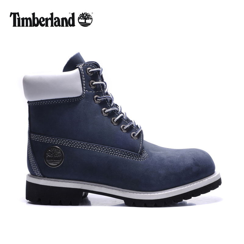 100% Original TIMBERLAND Women 10061 Blue Winter Ankle Boots,Woman Female Silver Metal Genuine Leather Outdoor Warm Walk Shoes