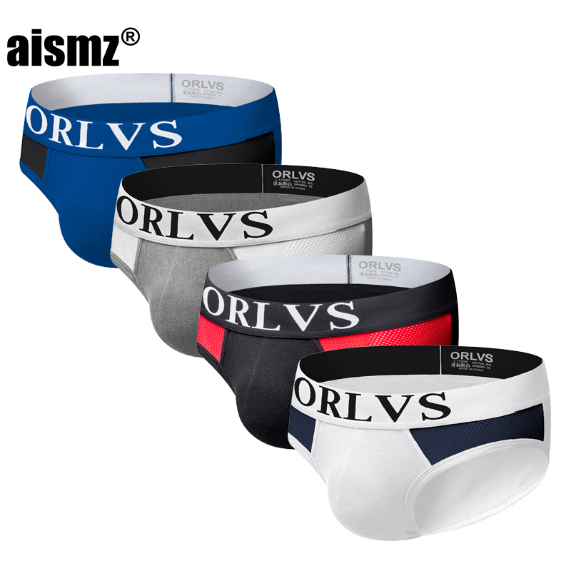 Aismz Sexy Underwear Briefs Gay Men Jockstrap Brief 4pcs/lot ropa interior hombre Pouch Cotton Mesh Cueca masculina Male Panties(China)