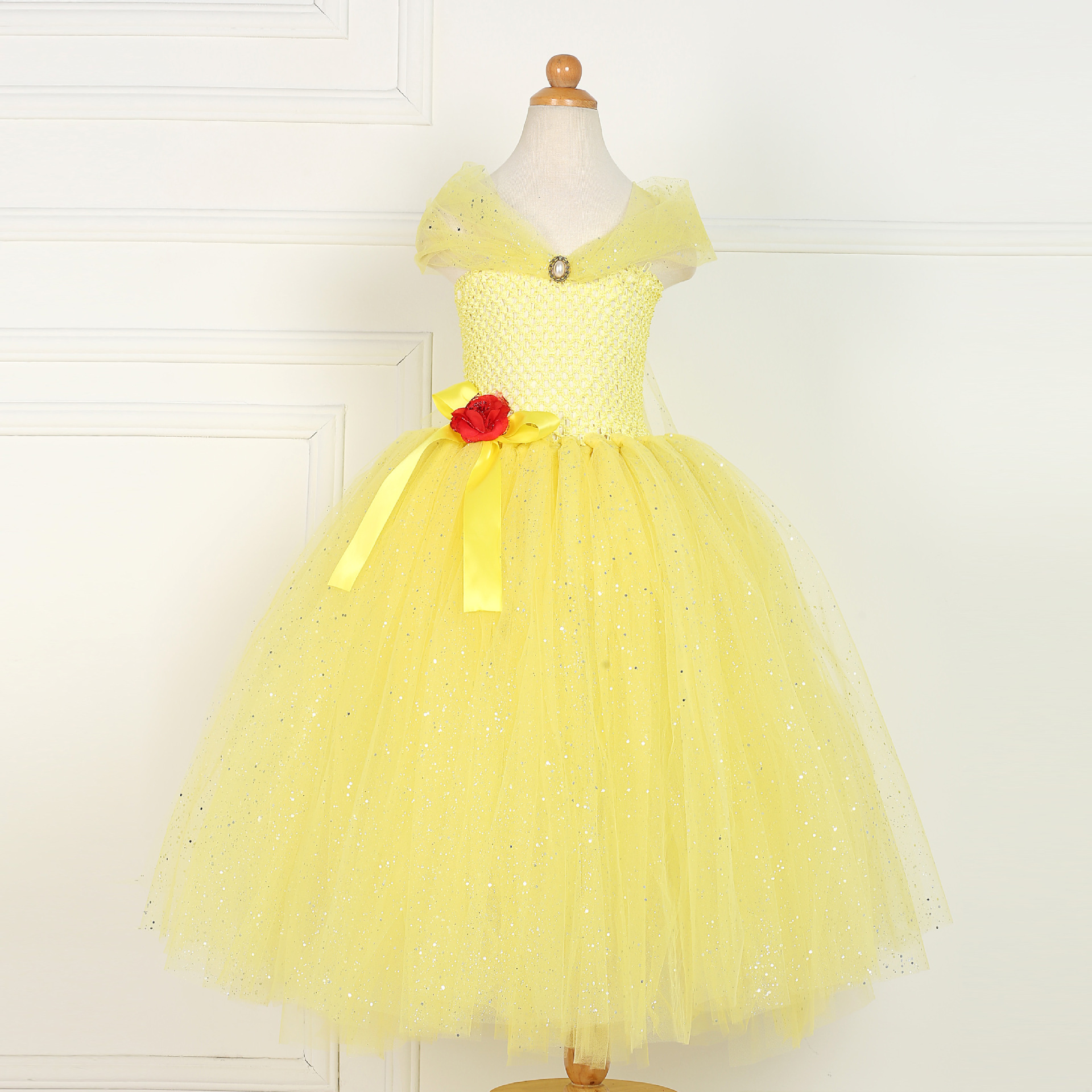 Halloween Costumes for Kids Toddler Girl Outfits Princess Party Tutu Dresses Princess Belle Birthday Flower Baby Pageant Gowns