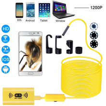 F130 WIFI Endoscope Camera 8mm lens HD1200P Soft Hard wire wireless waterproof inspection borescope for PC Android IOS Yellow