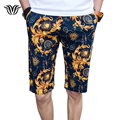 Men's Casual Beach Shorts 97% Cotton Floral Print Slim Micro-stretch Large Size 29-40 Brand Male  Summer Straight Leisure Shorts