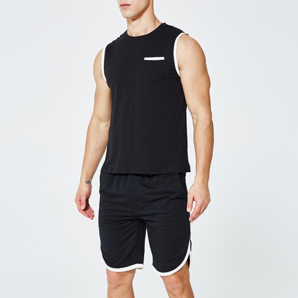 Europe Size Sporting Mens Sleeveles Vest Pants Suits Moletom Short Summer Tracksuit 2 Piece Tank Clothing Pullovers Shorts Sets