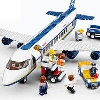 463Pcs AirBus Model Plane Passenger Airport City Building Blocks Compatible Legoings Childhood Accompany Intelligence Toy