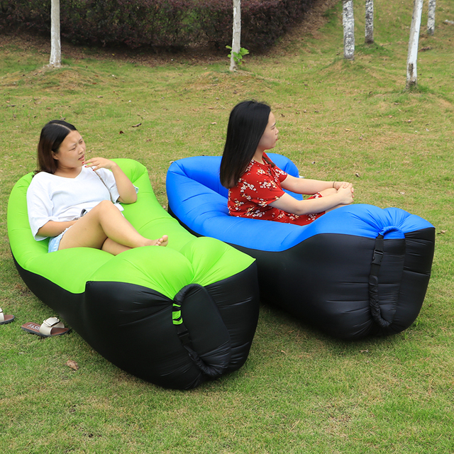 Sleeping Bag Camping Portable Air Beach Chair Inflatable Sofa Bed Hammock Lazy
