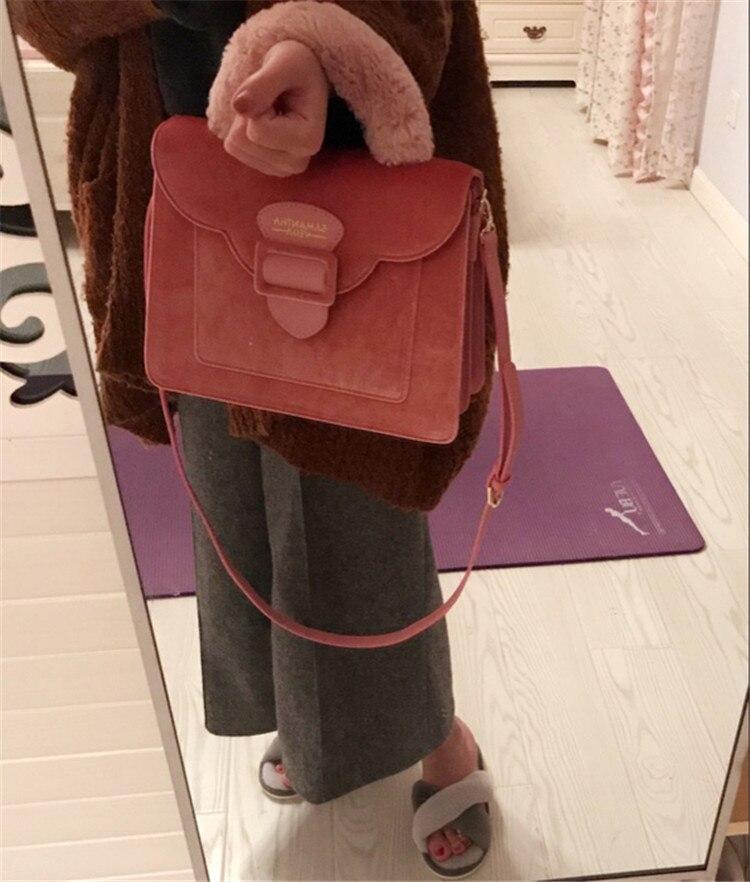 17 Christmas limited velvet suede handbag Samantha Vega plush handle organ shoulder bag Retro small flap square Messenger bag 17
