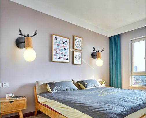 Creative antler personality bedside lamp simple children's room aisle corridor wall lamp Nordic living room bedroom wall lamp|LED Indoor Wall Lamps| |  - title=