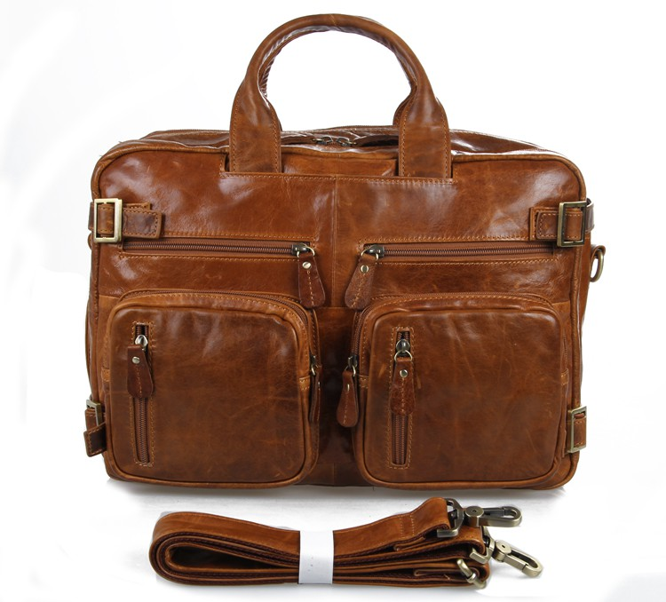 J.M.D  Vintage Genuine Leather Handbag Briefcase Men's Multifunction Laptop Bag Classic Messenger Bag 7026B