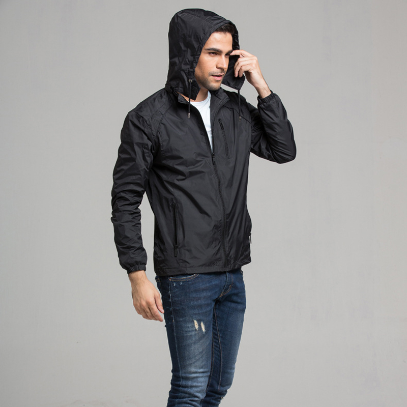 Autumn Thin New Men's Windproof Jacket Clothes for Male Outwear Coat Hooded Casaco Masculino Casual Sun-proof Men Wind Coat 4XL