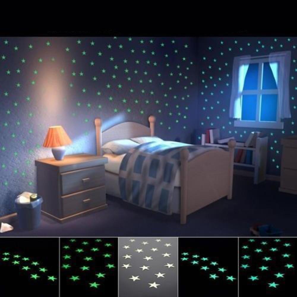 100pcsset Wall Stickler Home Decor Light Green Glow Luminous Star