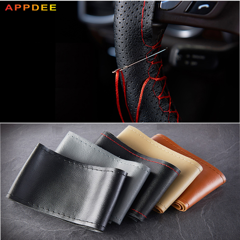 Antideslizante breathaCar volante cubierta suave trenza de cuero en la cubierta del volante del coche accesorios interiores