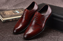 QYFCIOUFU Men Dress Shoes Genuine Leather Office Business Wedding Handmade Carving Brogue Formal Pointed Toe Oxfords Mens Shoe