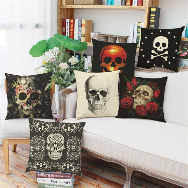 6 stili di Copertura del Cuscino di Lino Halloween skull Style Rivestimenti Moti