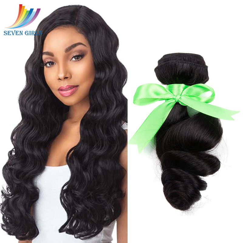 Sevengirls Indian <font><b>Grade</b></font> <font><b>10A</b></font> <font><b>Hair</b></font> Extension Loose Wave Natural Color Virgin <font><b>Hair</b></font> Bundles No Tangle No Shedding Free Shipping image