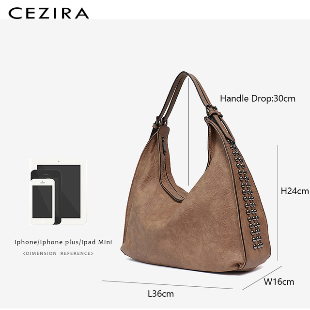 CEZIRA Brand Fashion Shoulder Bags for Women 2018 Designer Casual Big Tote Handbag Female Zipper Studs Pu Leather Ladies Purse 5