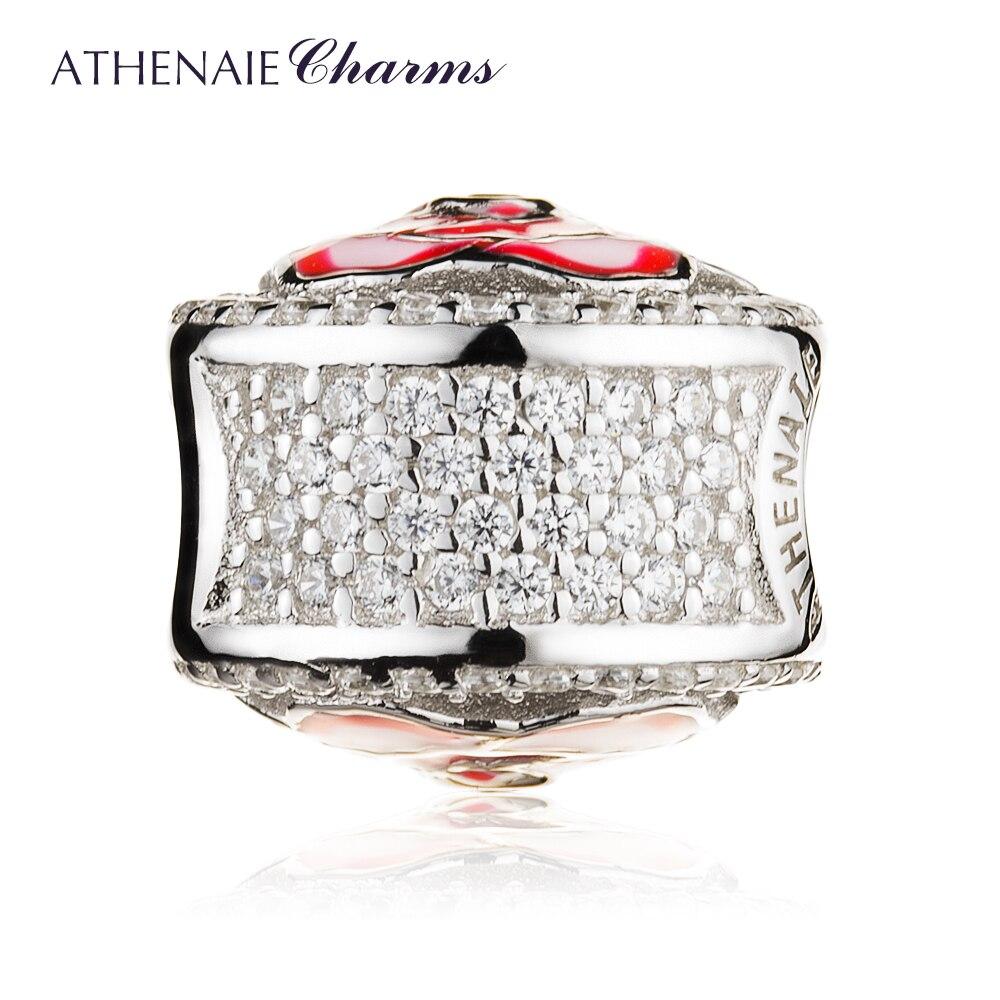 ATHENAIE Argent Sterling 925 avec CZ Rose Rouge /émaill/ée Flocons aux Papillons Bead Charms