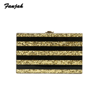 Striped Gold Glitter With Solid Black Acrylic Clutch Purse Box Bags Shoulder Small Tote Ladies Purse Drop shipping Acrylic Bags