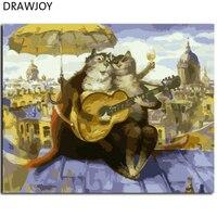 תמונות ממוסגר חדש שמן יד מצוירת ציור DIY על ידי מספרים על בד של בעלי חיים חתול קריקטורה בית תפאורה אמנות קיר GX7975