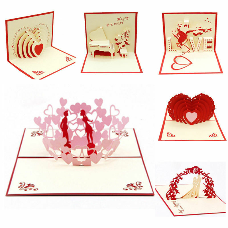 Hot Selling Creative Wedding Invitation Cards 3D Pop Up Greeting Card Handmade Engagement Valentines Anniversary Day Gift Card image