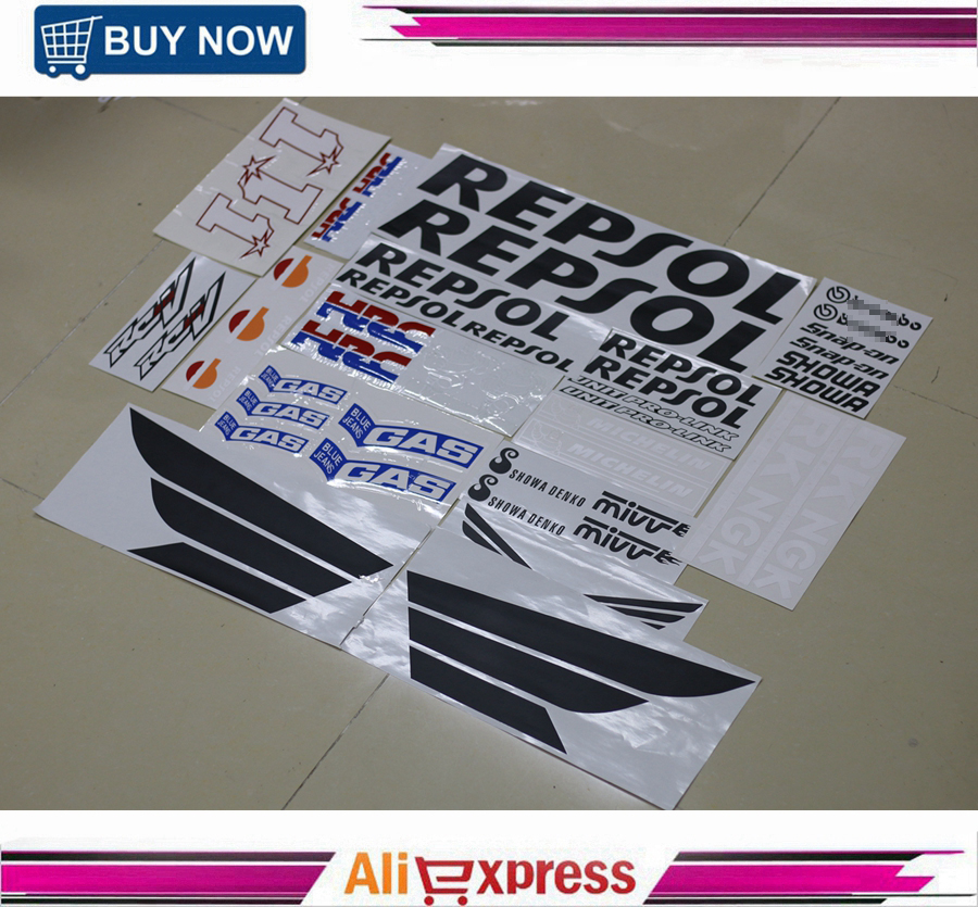 все цены на Motorcycle Fairing Kit Decals Sticker For Honda CBR600RR CBR1000RR REPSOL HRC RCV 212 Complete Stickers Decal Accessory онлайн