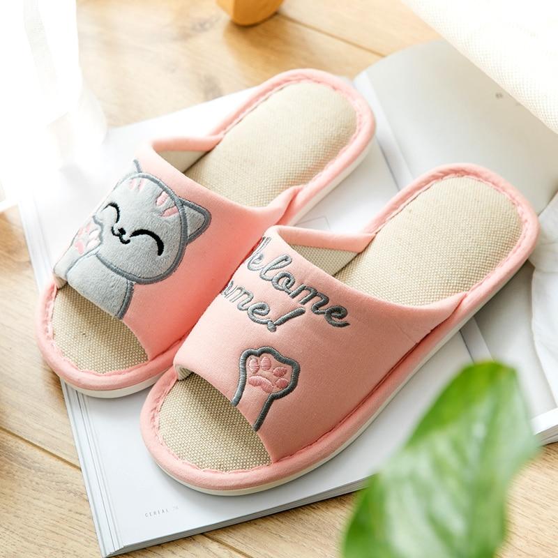 2018 Women Slippers Linen Cute Cat Cartoon Summer Comfortable Slip On Home Slippers Platform Sandals Women Shoes Dropshipping leisure platform and cartoon pattern design slippers for women
