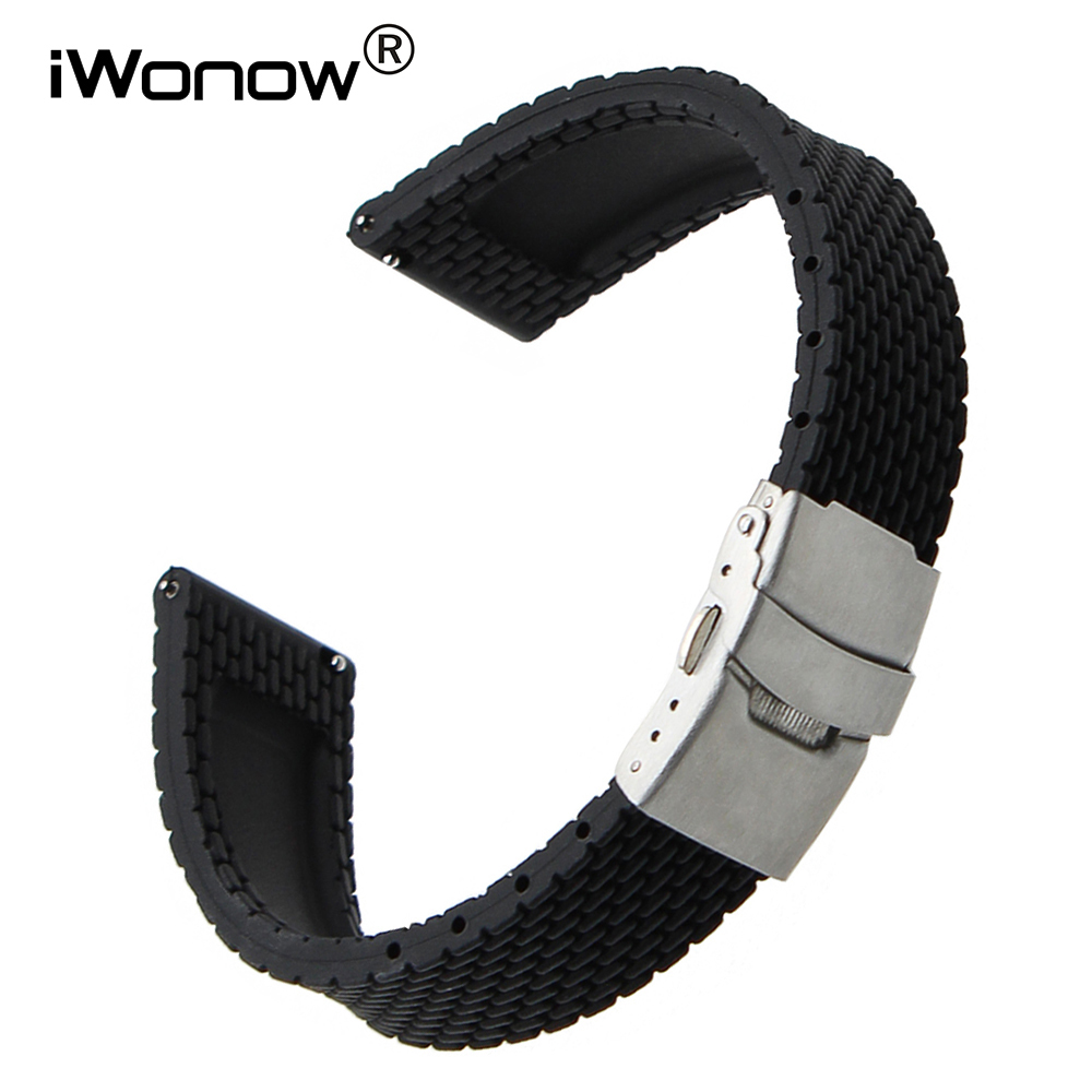 Quick Release Silicone Rubber Watchband 18mm for Withings Activite / Pop / Steel HR 36mm LG Watch Style Wrist Band Strap Black