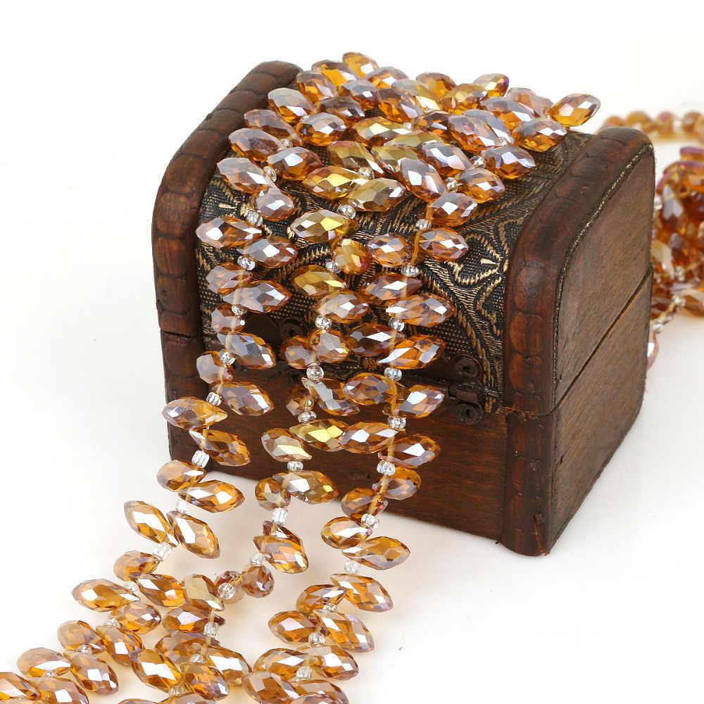 50 יח'\חבילה 6*12mm Teardrop אוסטריה פיאות קריסטל חרוזים טיפת מים זכוכית חרוזים Loose Spacer לתכשיטים ביצוע