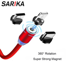 Sarika 1M 2M 360 Magnetic Charger Cable For iPhone 6 6s 7 8 Plus Fast Charging Micro USB Cable USB Type C Magnet Charger Cable гарнитура qcyber roof black red звук 7 1 2 2m usb