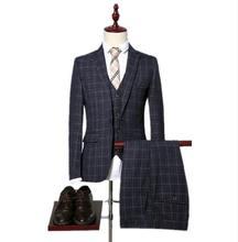 2019 High Quality Men Plaid Stripe Wedding Suits Tuxedos Mens Dress 3 Pieces Set Jacket+Pants+Vest