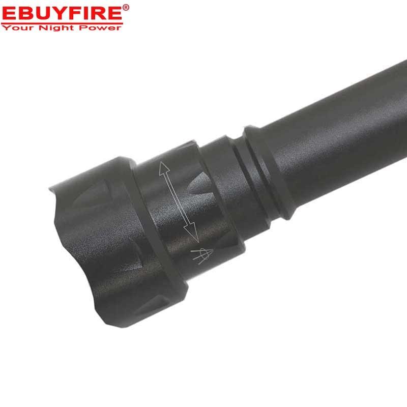 EBUYFIRE LED lampe de poche 18650 zoom T6 led T20 XM-L LED 1200-Lumen 3-Mode lampe de Poche-Noir