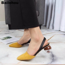 Women Sandals Fashion Crystal Round Ball Heels Ankle Straps Med Heel Wedding Party Shoes Mixed Color Square Toe