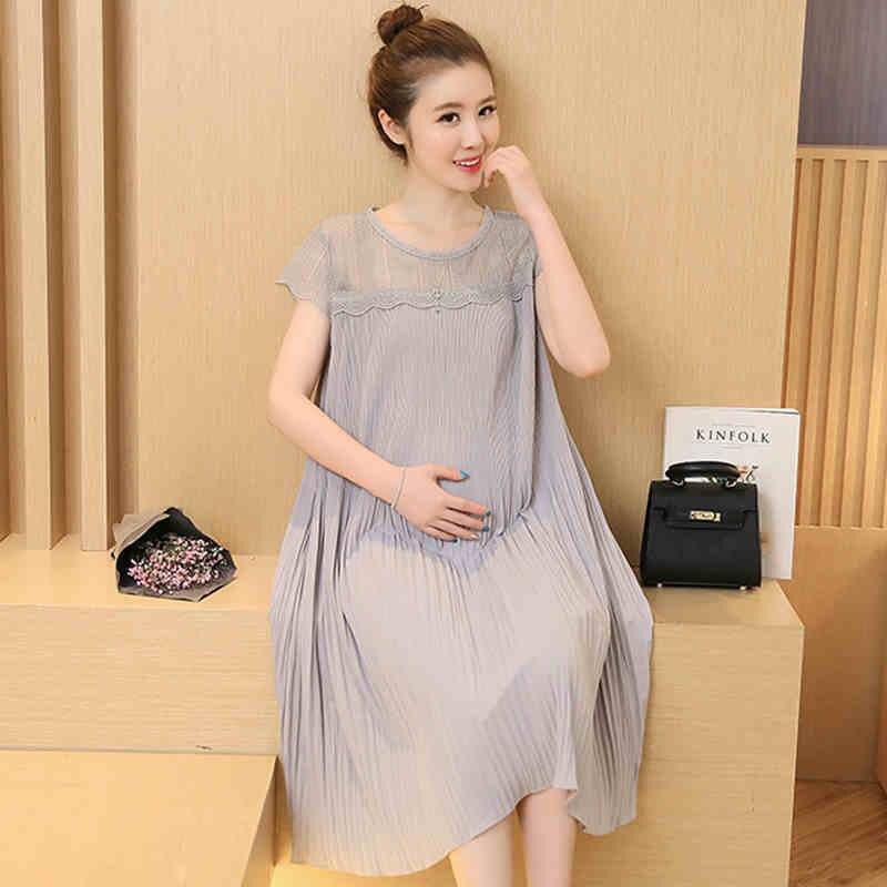 Elegant Korean Maternity Maxi Dress Clothes Tunic For ...