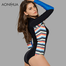AONIHUA Vibrant Side Striped One Piece Swimsuit for Women 2018 NEW Long sleeve zipper Swimwear female Push up swimming Suit 9006