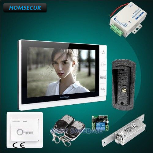 HOMSECUR 9 Wired Video Door Entry Security Intercom with Ultra-large Screen Monitor + Strike Lock homsecur 9 video door entry security intercom ultra large screen monitor 2c1m