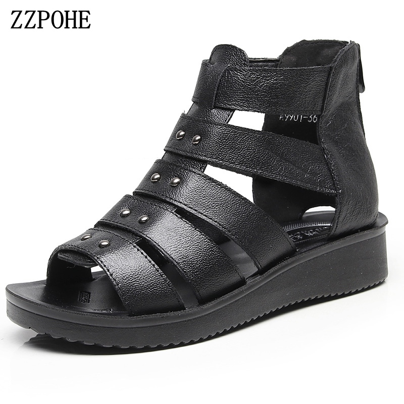 ZZPOHE 2018 Summer new mother Sandals Soft elderly Leather Sandals non-slip comfortable pregnant Women Shoes Plus size 35-41 aiyuqi2018 new genuine leather women summer sandals comfortable fish casual mouth plus size 41 42 43 mother sandals shoes female